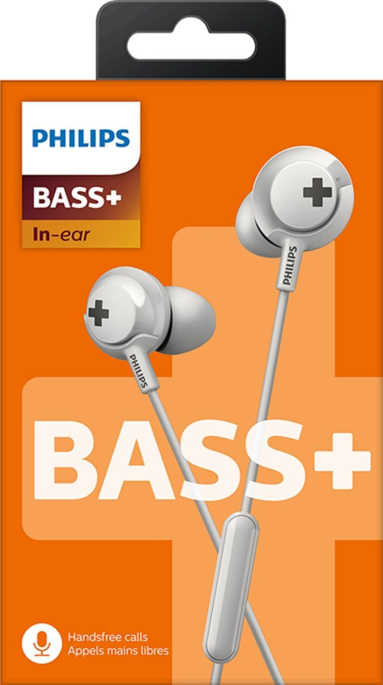Philips BASS+ Headphones with mic SHE4305WT 12.2mm drivers/ closed-back In-ear White austiņas