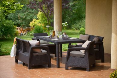 Curver A set of garden furniture CORFU II FIESTA - gray Dārza mēbeles