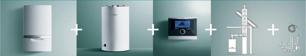 Vaillant Pakiet kociol VC ecoTEC PLUS 146/5-5 + zasobnik VIH R120 RS + regulator + zestaw podlaczeniowy + system powietrzno-spalinowy - 0010 boileris