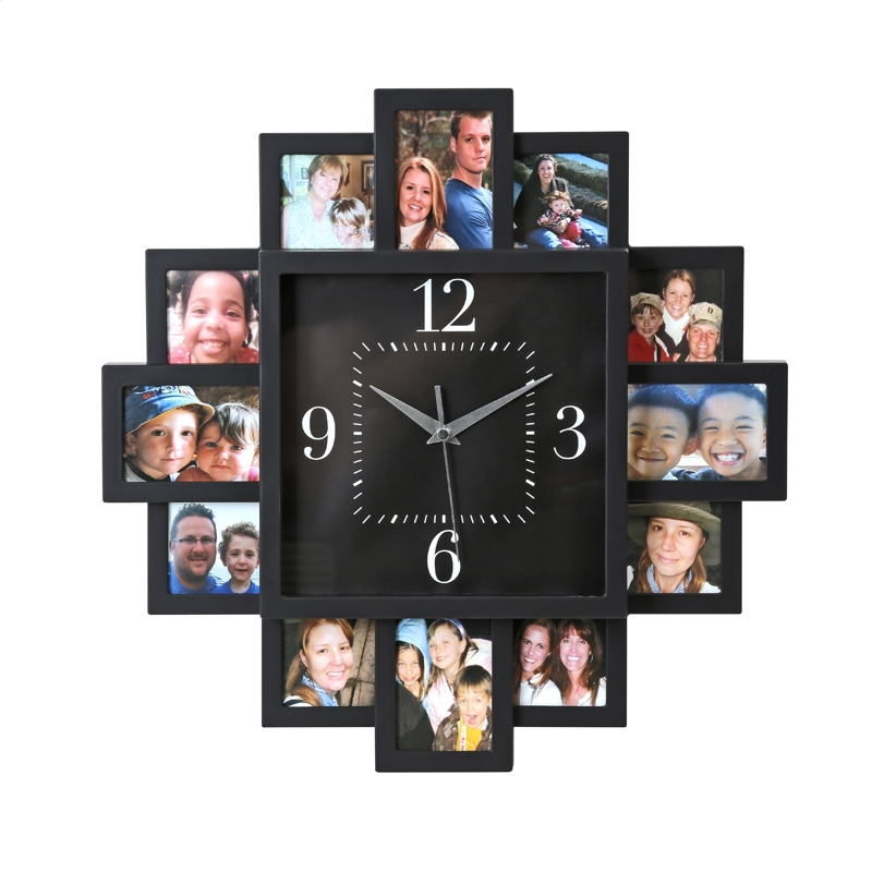 Platinet PZSSC Sunset Sienas pulkstenis ar Foto Rāmīšiem Melns Sienas pulkstenis