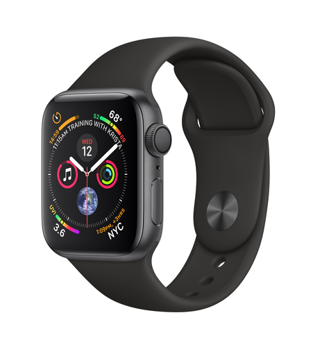 Apple Watch Series 4 GPS 40mm Grey Alu Black Sport Band Viedais pulkstenis, smartwatch