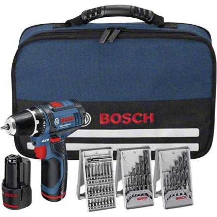 Bosch GSR 10,8-2Li Cordless drill/2x1,5Ah/10,8V/30Nm/7mm/0.95kg + 39 accessories tool kit + Bag Elektroinstruments
