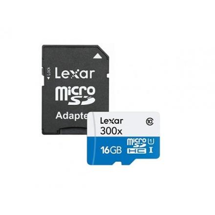 Lexar 16GB microSDHC C10 300x with adapter high speed atmiņas karte