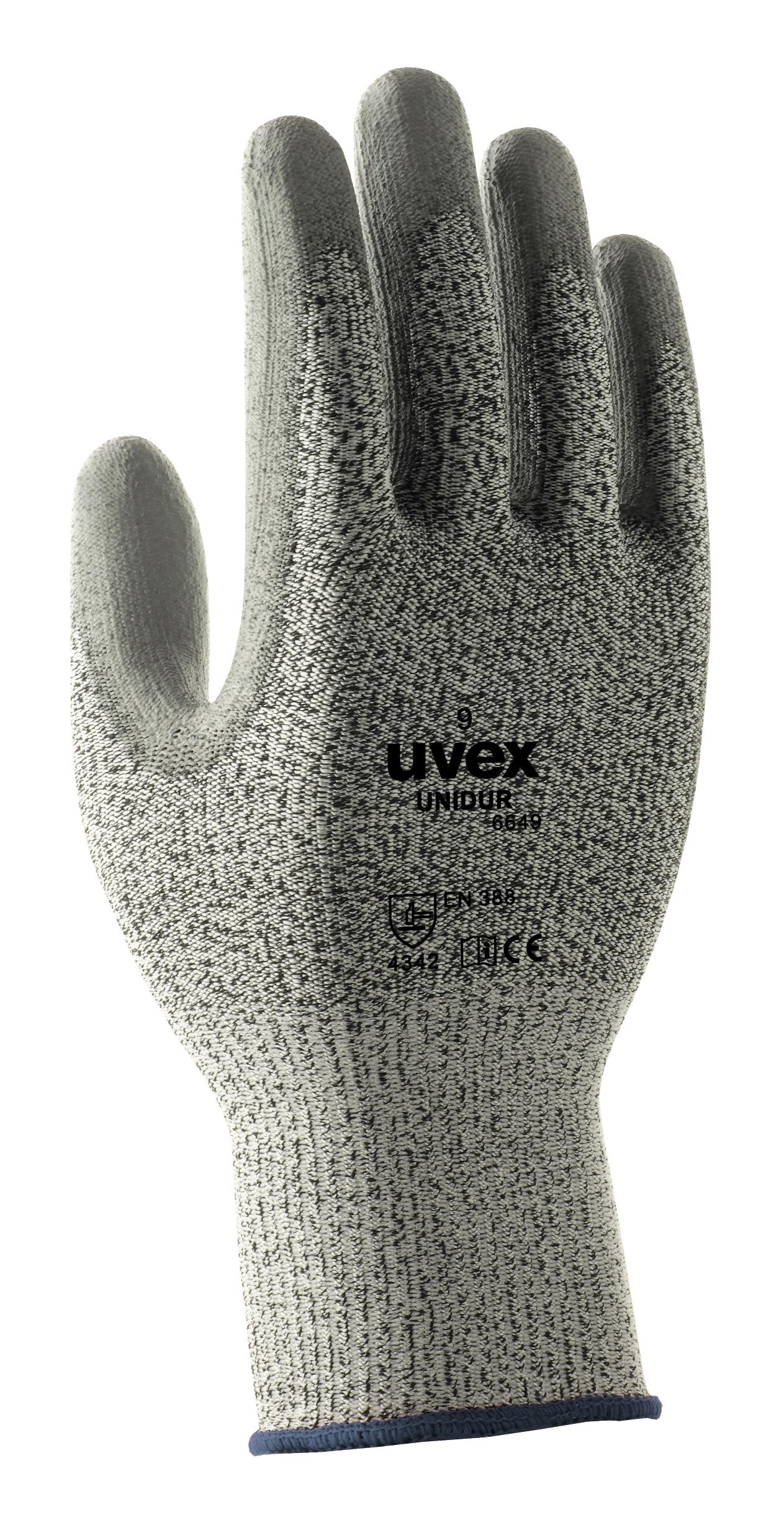 UVEX darba cimdi Unidur 6649. 3. limena griezumu aizsardziba, HPPE, poliamida materials ar PU parklajumu, izmers 10 UV6051610 darba apavi