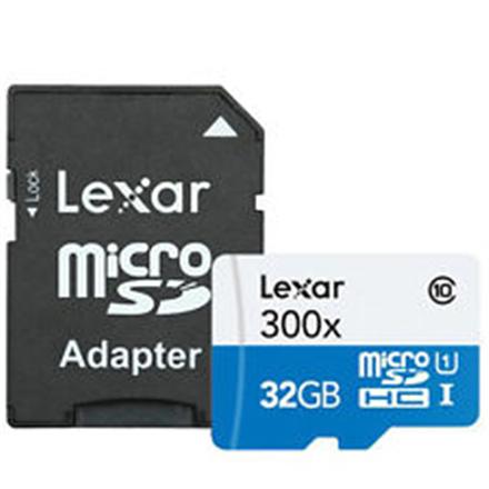 Lexar 32GB microSDHC C10 300x with adapter high speed atmiņas karte