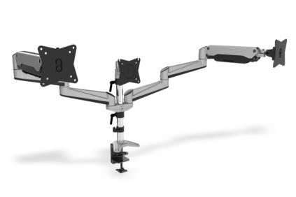 Clamb Mount for Monitors with Gas Spring, 3xLCD,27'',adjustable and rotated 360
