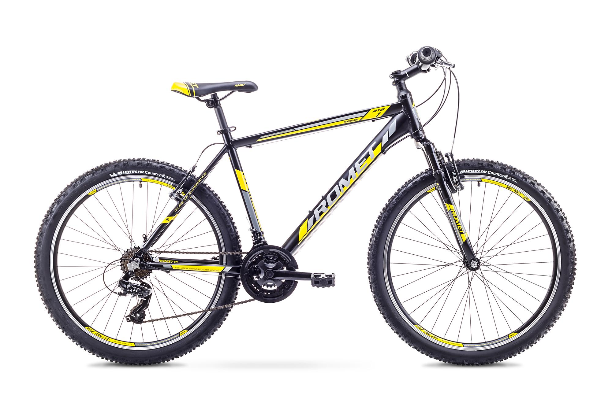 ROMET RAMBLER 26 1 (AR) 1826745 17M MEL/DZELT VELOSIPĒDS kalnu velosipēds MTB
