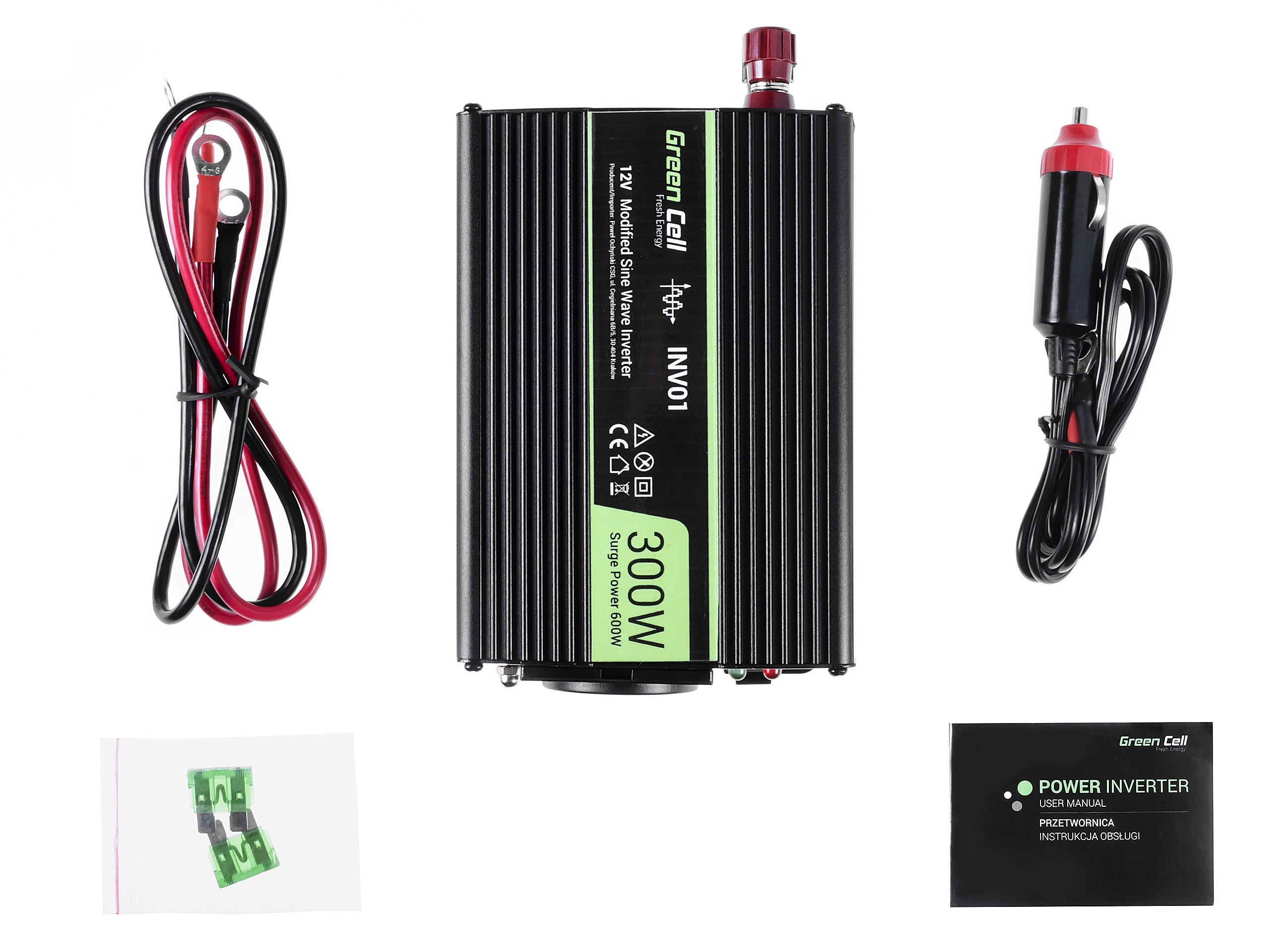 Green Cell Car Power Inverter 12V to 230V, 300W / 600W Strāvas pārveidotājs, Power Inverter