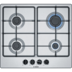 Bosch Hob PGP6B5B60 Gas, Number of burners/cooking zones 4, Stainless steel, plīts virsma