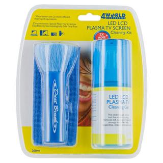 4World Cleaning Kit LED/LCD/PLASMA TV 200ml gel brush cloth 08471 tīrīšanas līdzeklis