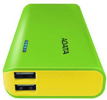 ADATA PT100 Power Bank 10000mAh, green/yellow Powerbank, mobilā uzlādes iekārta