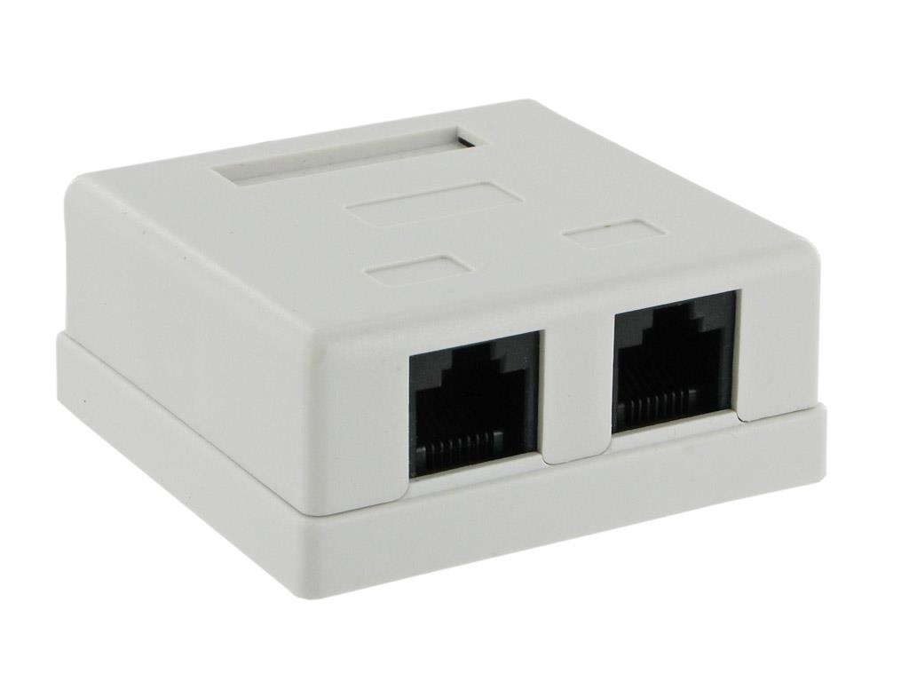 4World connector 2x RJ45, Cat 5e, mounted, complete, white