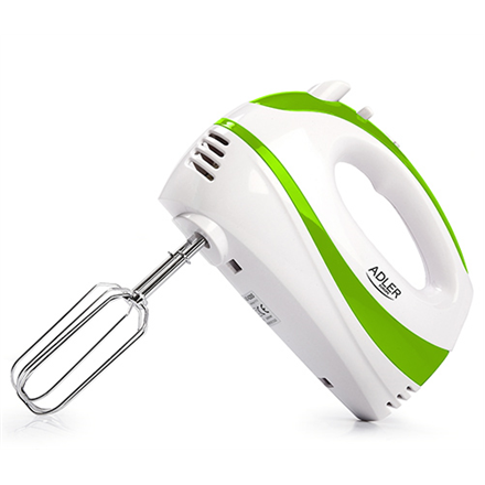 Adler AD 4205 g White, green, Hand Mixer, 300 W, Number of speeds 5, Shaft material Stainless steel, Mikseris