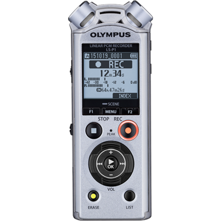 Olympus LS-P1 Ni-MH Rechargeable Battery, LCD, 96kHz/24bit Linear PCM, Digital, 4GB, Stereo, 39.6 x 14.4 x 108.9 mm, Microphone connection diktafons