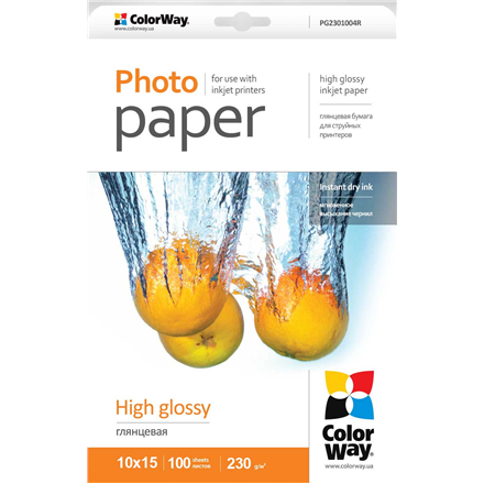 ColorWay High Glossy Photo Paper, 100 sheets, 10x15, Weight 230 g/m2 foto papīrs