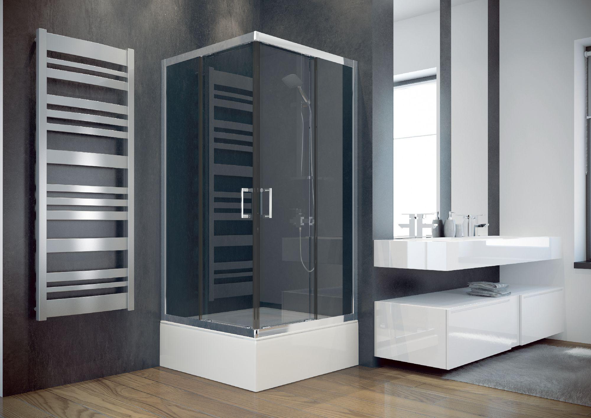 Besco Kabina kwadratowa Modern czyste szklo 90 x 90cm (MK-90-165-C) MK-90-165-C