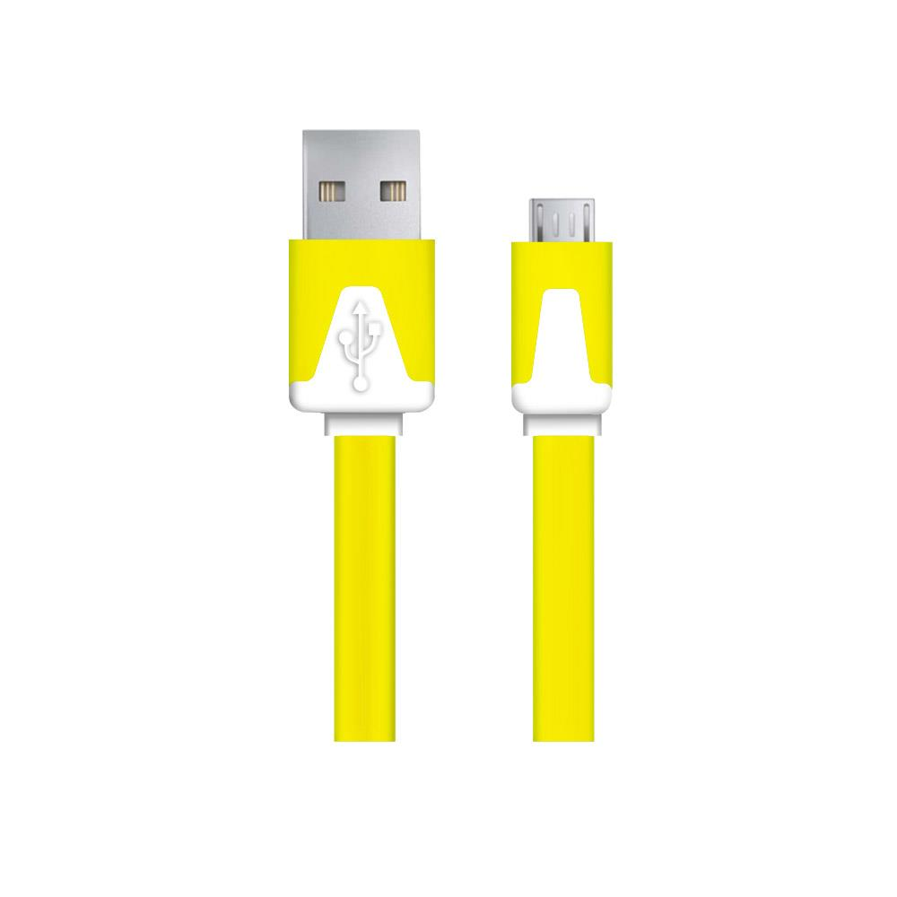 ESPERANZA EB183Y flat cable MICRO USB 2.0 A-B M/M 1,0m -YELLOW kabelis, vads