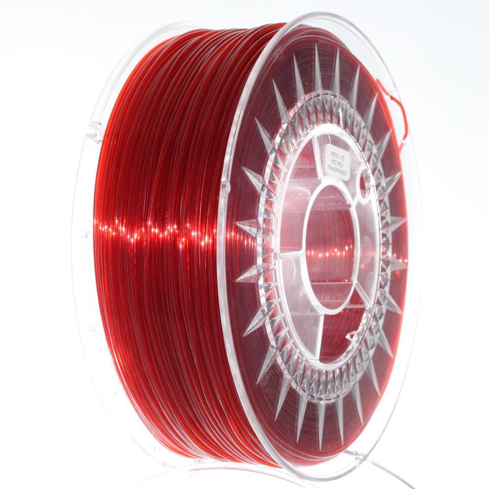 DEVIL DESIGN / PETG / RUBY RED TRANSPARENT / 1,75 mm / 1 kg. 3D printēšanas materiāls