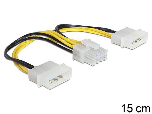 Delock Cable Power 8 Pin EPS > 2 x 4 Pin molex, 15 cm kabelis, vads