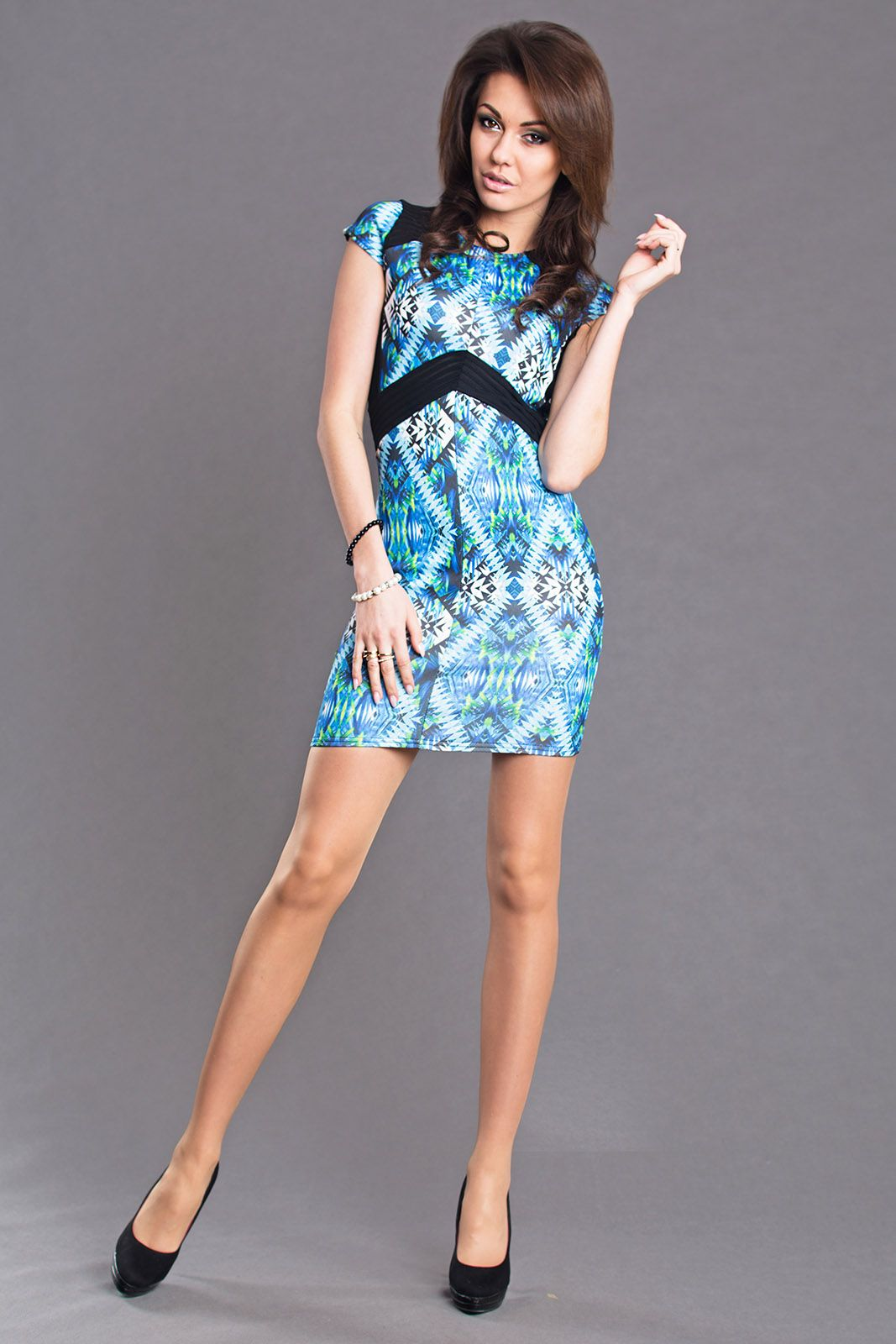 AYANAPA Sukienka 6685 niebieska r. M (6106) 807006106138 Kleitas sievietēm