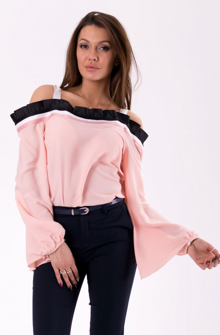 AZAKA Bluzka damska AT3619 pudrowy roz r. M (46031) 807046031223 Blūzes sievietēm