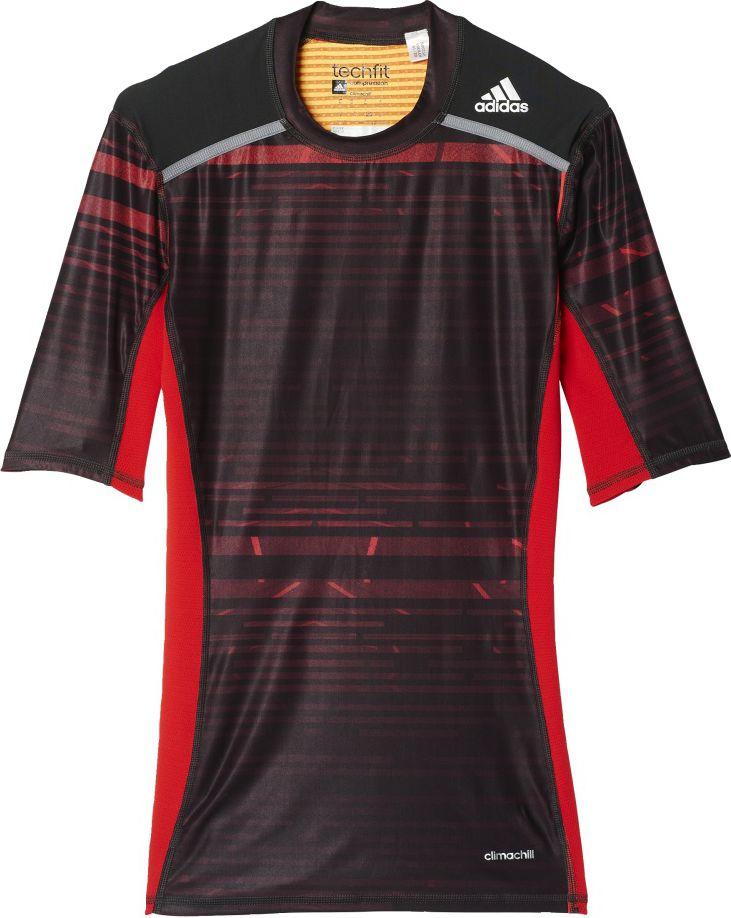 Adidas Koszulka meska Techfit Chill Short Sleeve Tee  czarno-czerwona r. S (AY8365) AY8365