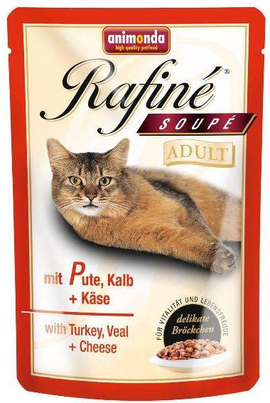 ANIMONDA  Rafine Soupe Adult Indyk i Cielecina + ser saszetka 100g 13030 kaķu barība