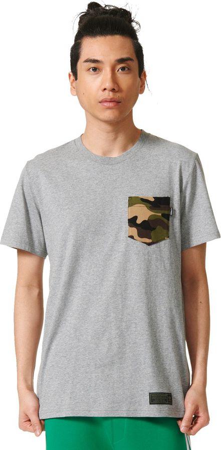 Adidas Koszulka meska Camo Pocket Tee szara r. M (AY8875) AY8875