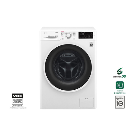 LG Steam washing machine F2J6QY0W Front loading, Washing capacity 7 kg, 1200 RPM Veļas mašīna