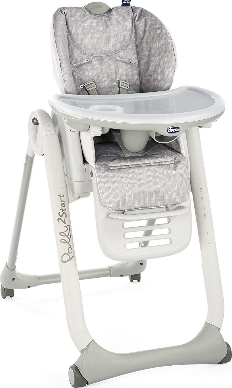 Chicco POLLY CHAIR 2 START 4 HAPPY SILVER WHEELS bērnu barošanas krēsls