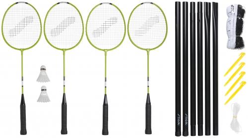 Badmintona komplekts Weekend WS (4 Pieauguso raketes + 2 volani + cehols + tikls ar stabiem) badmintona rakete
