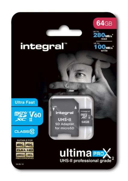 Integral microSDXC 280-100MB UHS-II V60 + SD Adapter, 64GB