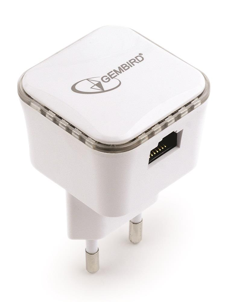 Gembird WiFi repeater, 300 Mbps + LAN, white Access point