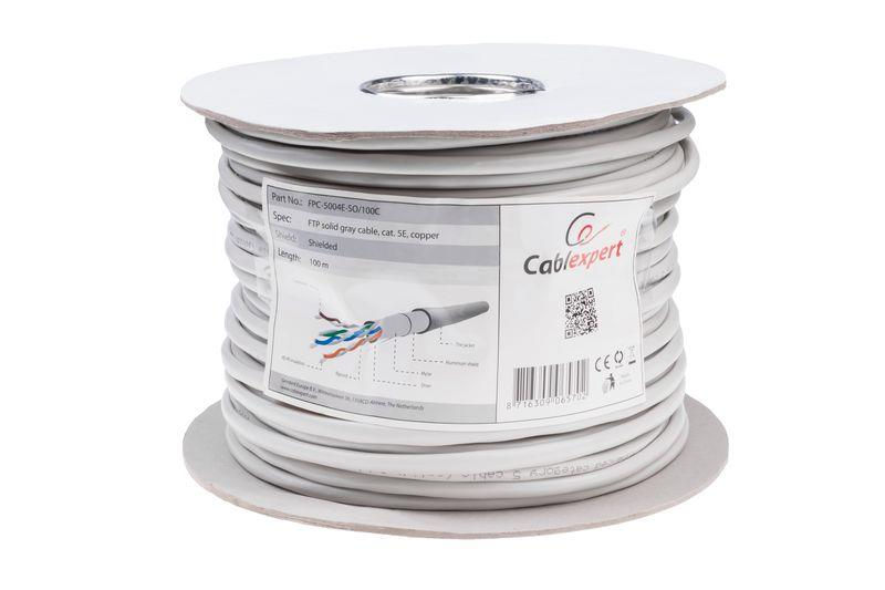 Gembird FTP solid cable, cat. 5e, 100m, gray kabelis, vads