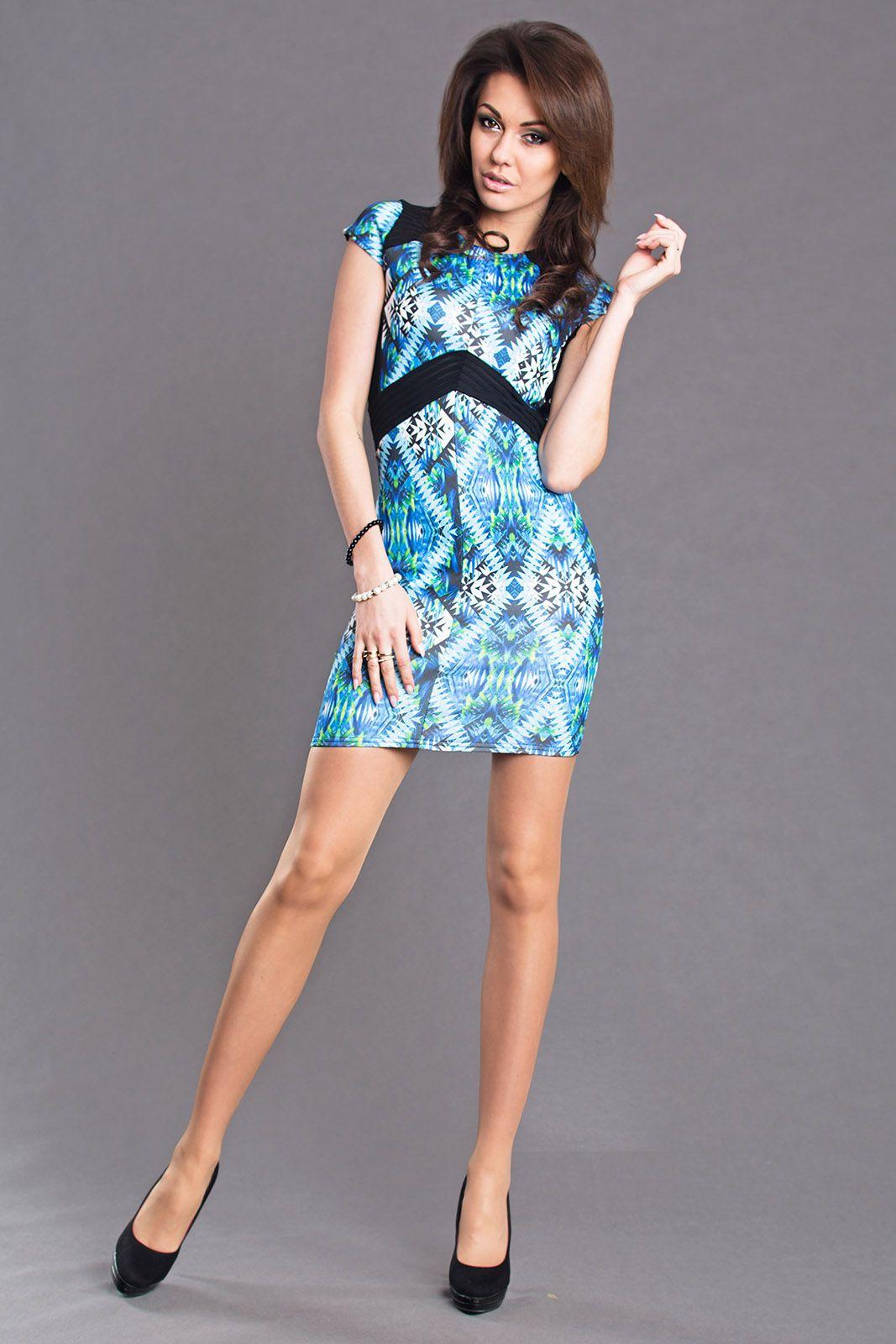 AYANAPA Sukienka 6685 niebieska r. L (6106) 807006106145 Kleitas sievietēm