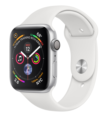 Apple Watch Series 4 GPS 44mm Silver Alu White Sport Band Viedais pulkstenis, smartwatch