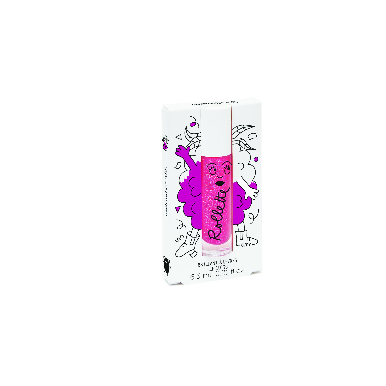 Nailmatic Kids Dabīgs un mitrinošs bērnu lūpu spīdums ar vitamīniem un augļu garšu, Raspberry, 6,5 ml ROLLFRAMB 6358 Lūpu krāsas, zīmulis