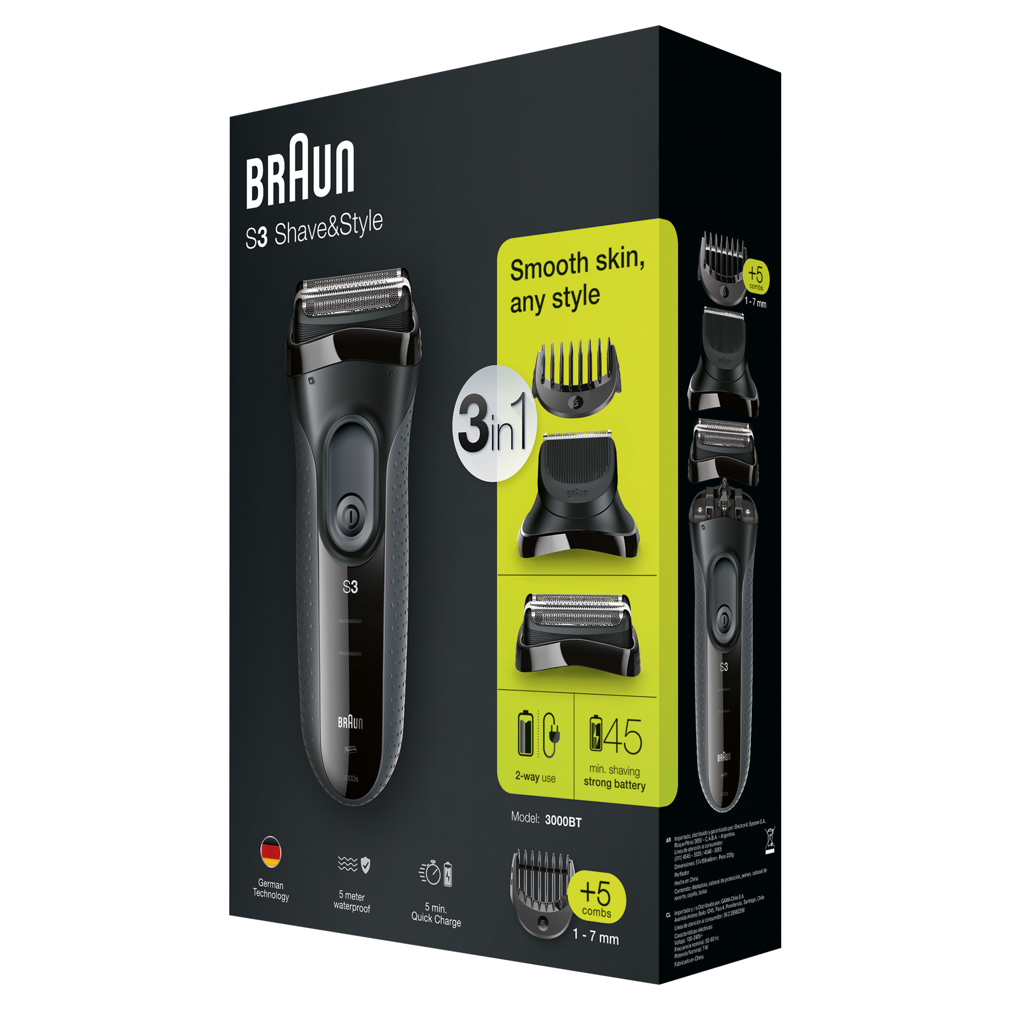 Braun Series 3 - 3000BT Shave & Style 3-in-1 matu, bārdas Trimmeris