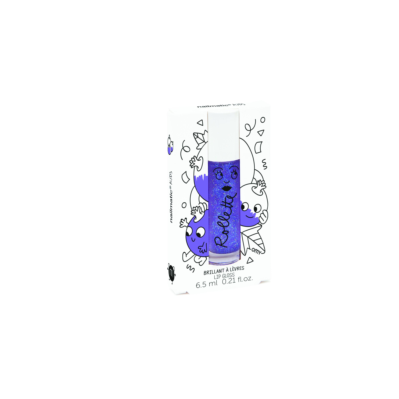 Akcija! Nailmatic Kids Dabīgs un mitrinošs bērnu lūpu spīdums ar vitamīniem un augļu garšu, Blackcurrant, 6,5 ml ROLLCASSIS 6355 Lūpu krāsas, zīmulis