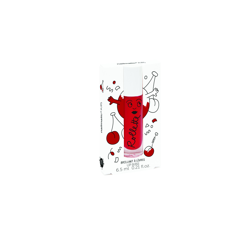 Nailmatic Kids Dabīgs un mitrinošs bērnu lūpu spīdums ar vitamīniem un augļu garšu, Cherry, 6,5 ml ROLLCERISE 6356 Lūpu krāsas, zīmulis