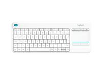 Logitech Wireless Touch Keyboard K400 Plus, 2.4GHZ, White, US klaviatūra