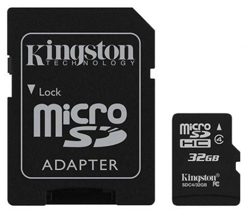 Kingston 32GB microSDHC Canvas Select 80R CL10 UHS-I Card + SD Adapter atmiņas karte