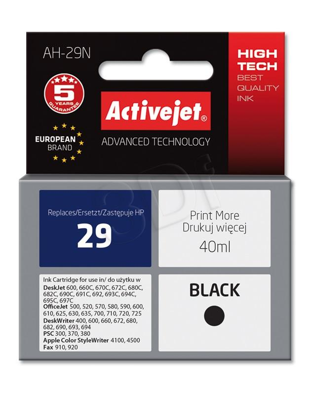 Ink Activejet AH-29N (for printer Apple Hewlett Packard  compatible replacement HP 29 C51629A supreme 40m black)