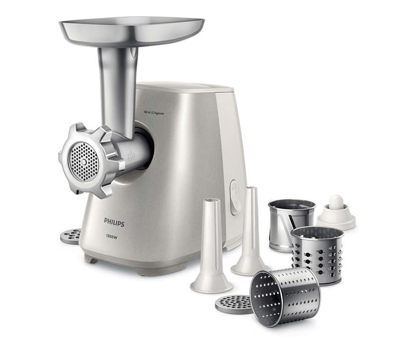 Philips Meat Mincer HR2723/20 White/ stainless steel, Number of speeds 1, Throughput (kg/min) 2.3, Additional chamber for feeding with three Gaļas maļamā mašīna