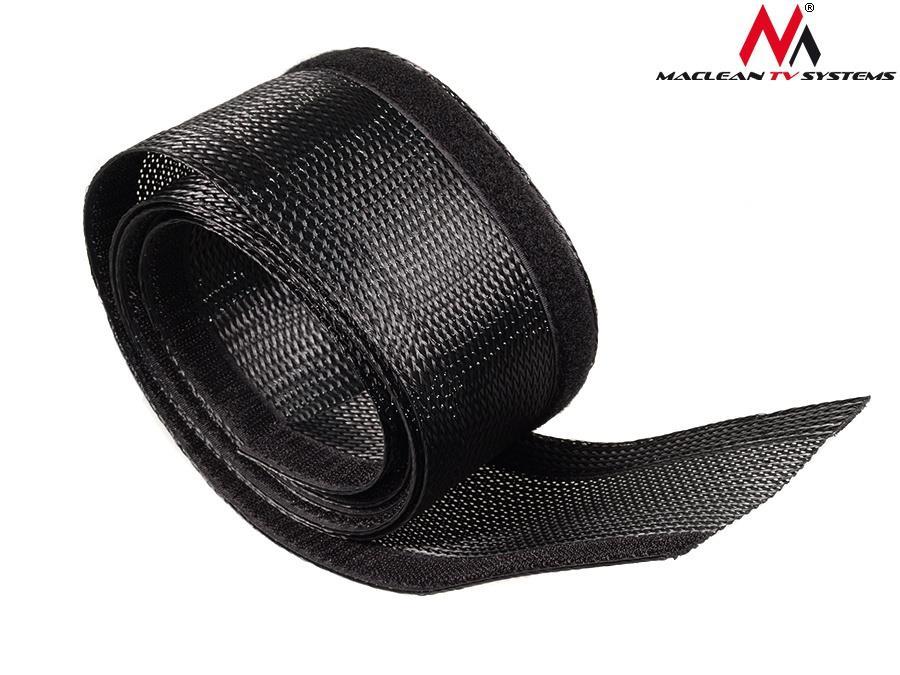 Maclean MCTV-675 B Cable Cover Elastic Material Velcro Black  Organizer 1,8m kabelis, vads