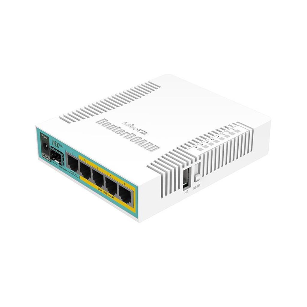 MikroTik RB960PGS hEX PoE L4 128MB RAM, 5xLAN, 1xSFP, 1xUSB, port 2-5PoE output WiFi Rūteris