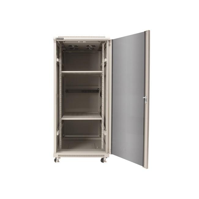 Linkbasic rack cabinet 19'' 27U 600x800mm grey (smoky-gray glass front door)