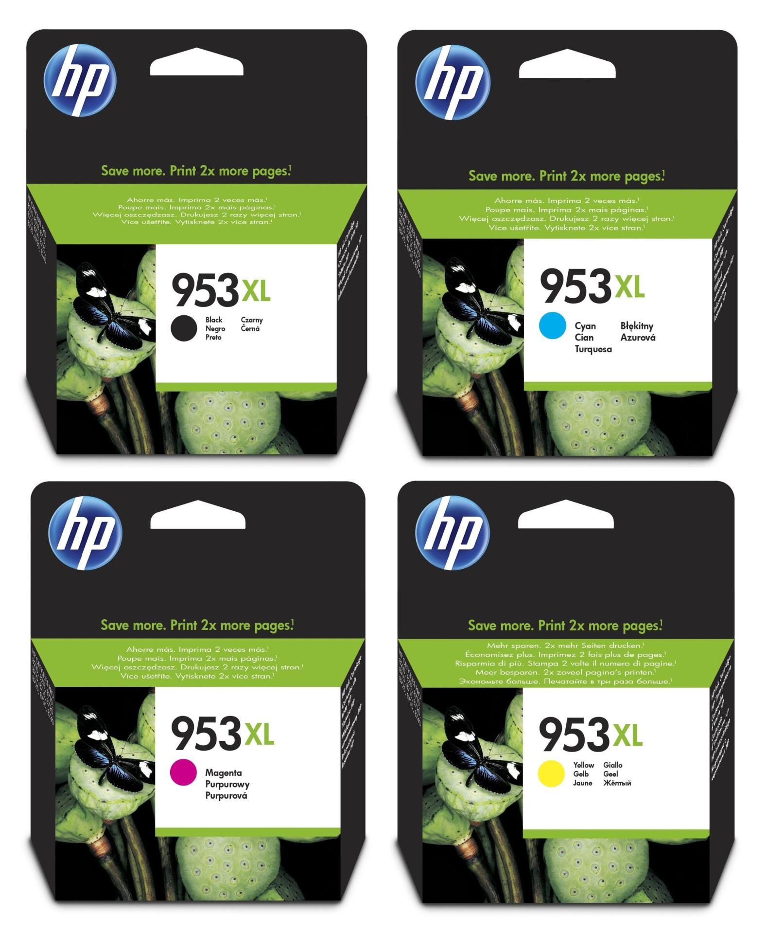 HP Original 953XL Tintenpatronen 4er Set black, cyan, magenta, yellow hohe Kapazitat (L0S70AE, F6U16AE, F6U17AE, F6U18AE