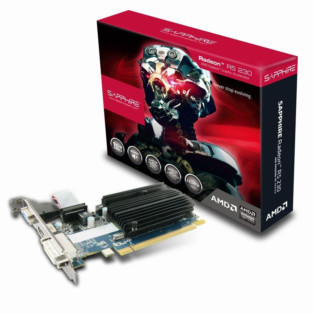 Sapphire Radeon R5 230, 1GB DDR3 (64 Bit), HDMI, DVI, VGA, BULK video karte