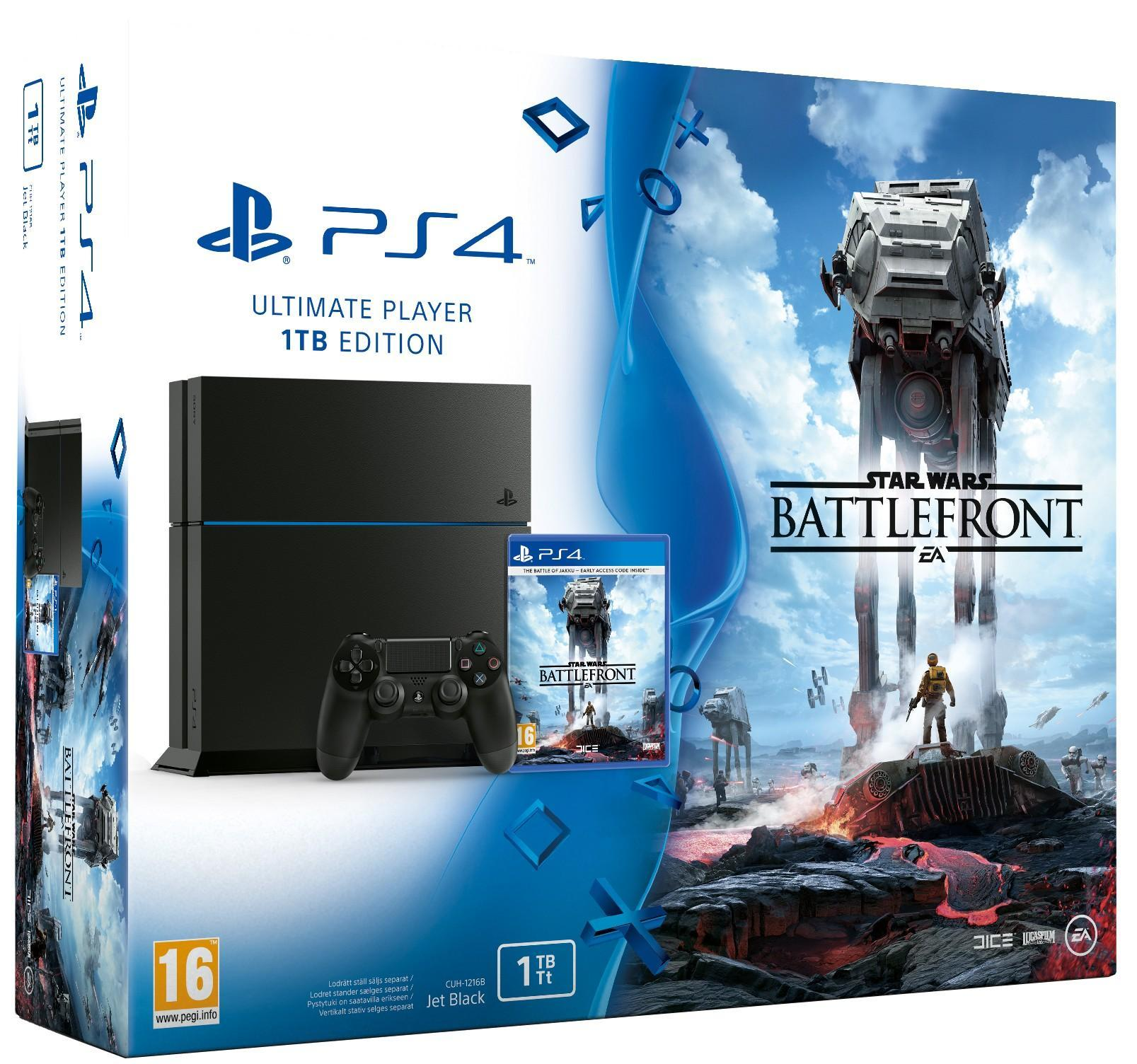 Sony Playstation 4 1TB (PS4) BLACK + Star Wars Battlefront (Damaged Box) T-MLX19261 spēļu konsole